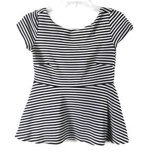 ZARA KNIT Black White Stripe Peplum Top Blouse S